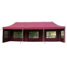 Zahradní červený nůžkový párty stan 3x9 metru